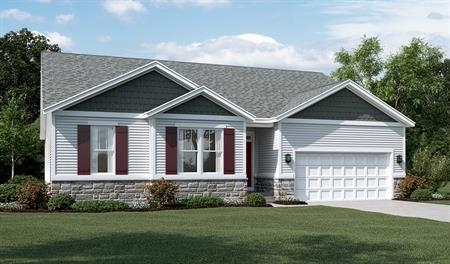 New home exterior C of Decker floor plan with partial stone