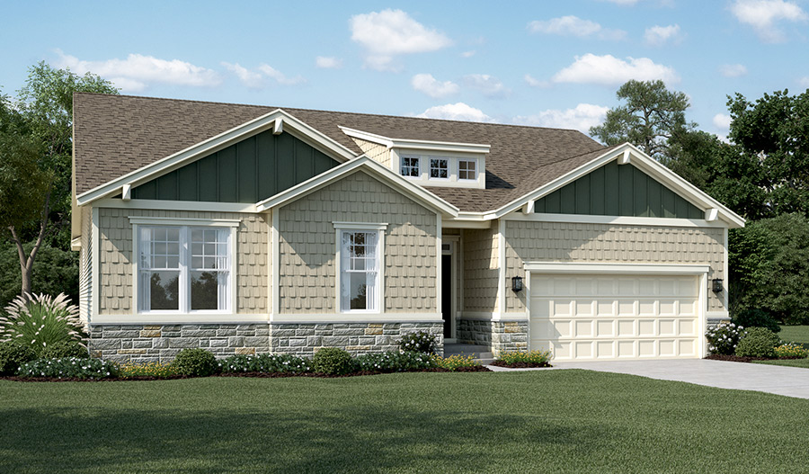 New home exterior D of Decker floor plan with partial stone