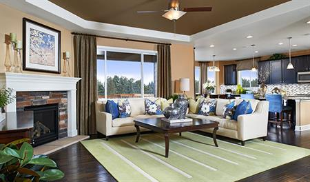 Great room in the Delaney floor plan