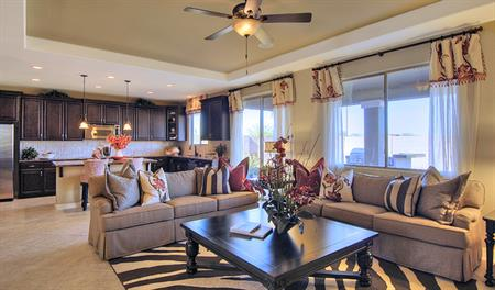 Family room and kitchen of the Denise floor plan