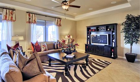 Family room in the Denise floor plan