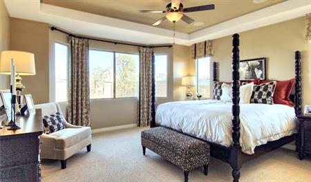 Master bedroom in the Denise floor plan