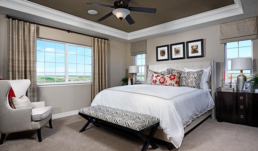Master bedroom in the Dillon floor plan