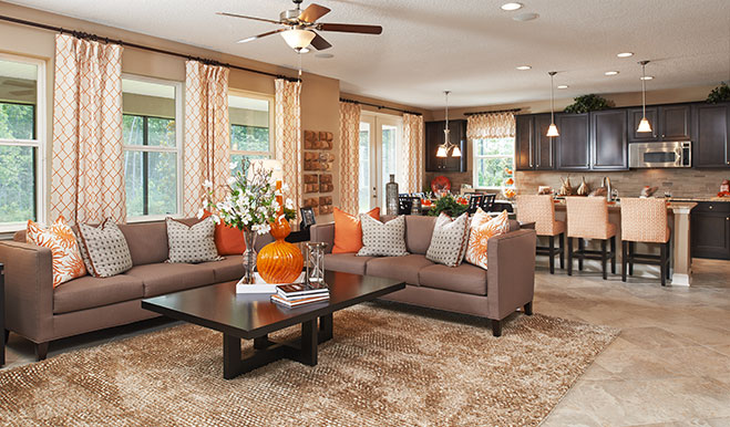 Great room and kitchen in the Dillon floor plan