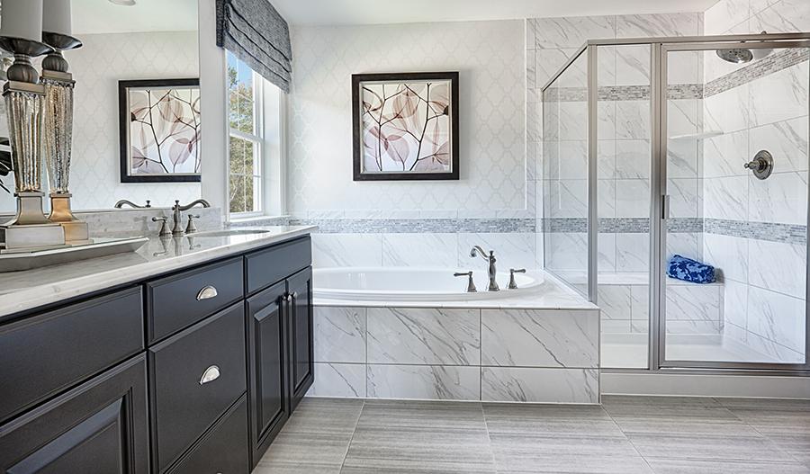 Master bath with walk in shower in the Donovan floor plan