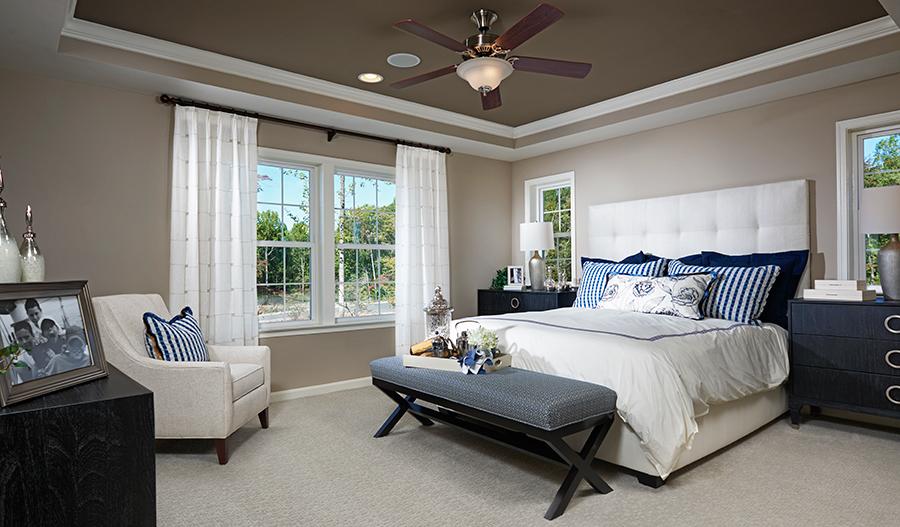 Master bedroom in the Donovan floor plan