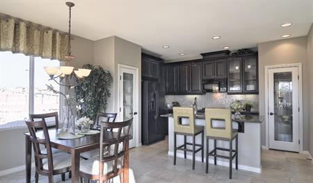 Kitchen and nook in the Evan floor plan