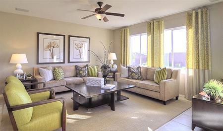 Living room in the Evan floor plan