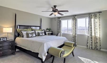 Master bedroom in the Evan floor plan
