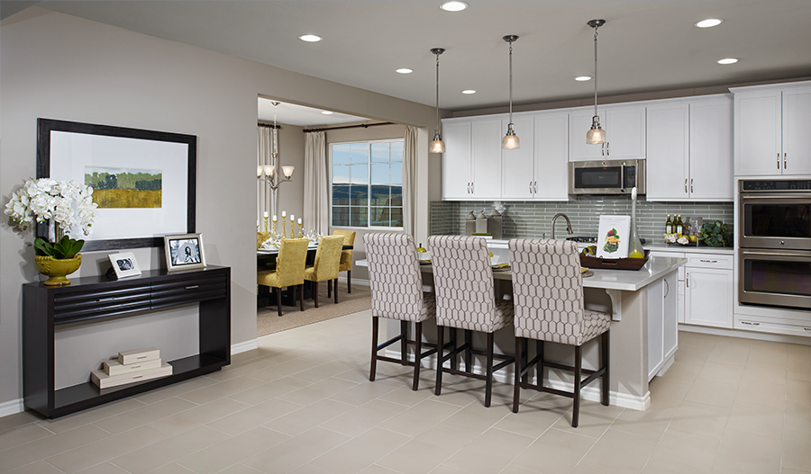 Kitchen and dining room in the Fleming floor plan