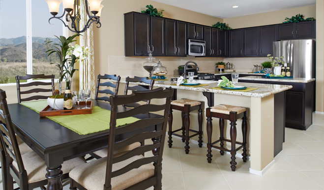 Kitchen and dining area of the Ford floor plan