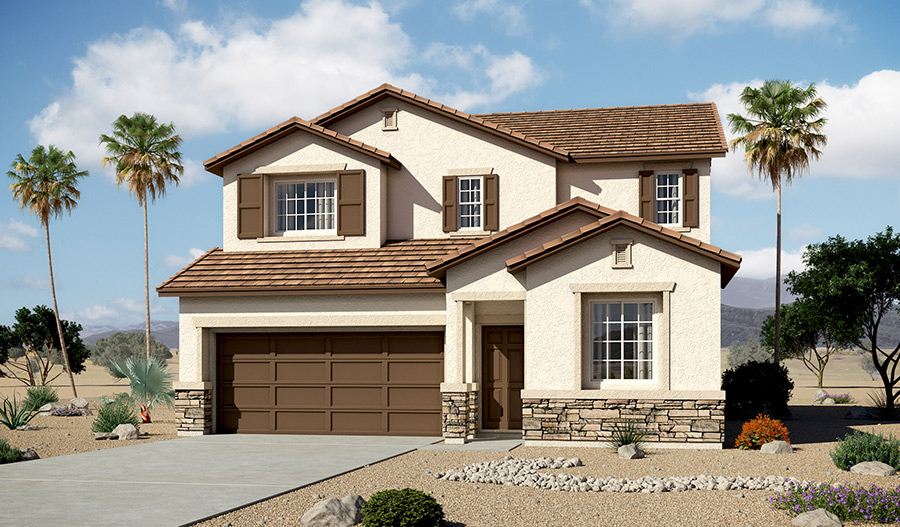 Exterior B of the Foster floor plan in the Tenaya Highlands community