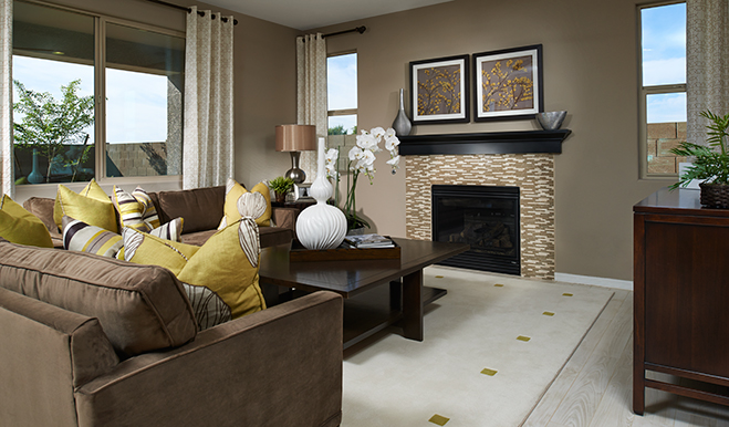 Family room with fireplace of the Franklin floor plan