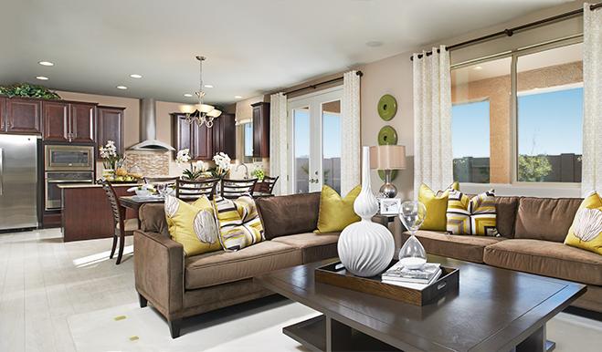 Great room of the Franklin floor plan