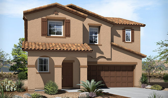 Exterior A of the Franklin floor plan in the Skyline Ridge community