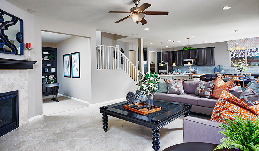 Great room with fireplace in the Fremont floor plan