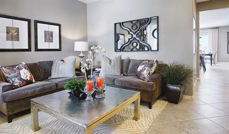 Living room in the Fremont floor plan