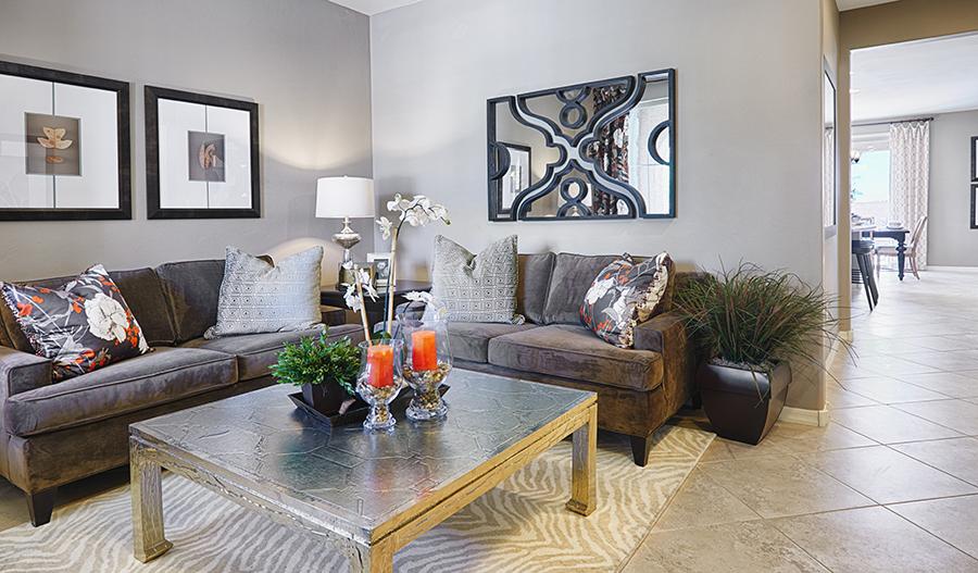 Living room in the Fremont floor plan