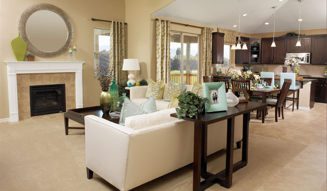 Family room and kitchen in the Haley floor plan