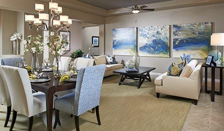 Living room of the Harlan floor plan