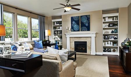 Family room in the Harlow floor plan