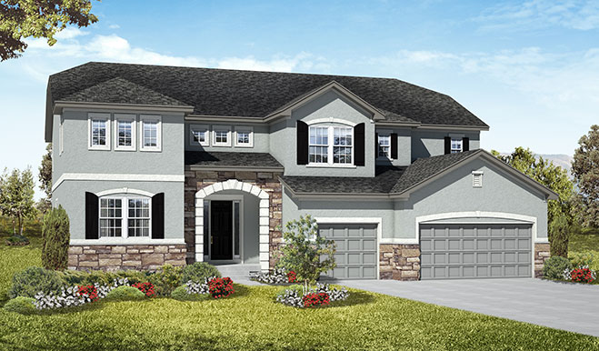 Exterior A of the Harlow floor plan in the Royal Farms community