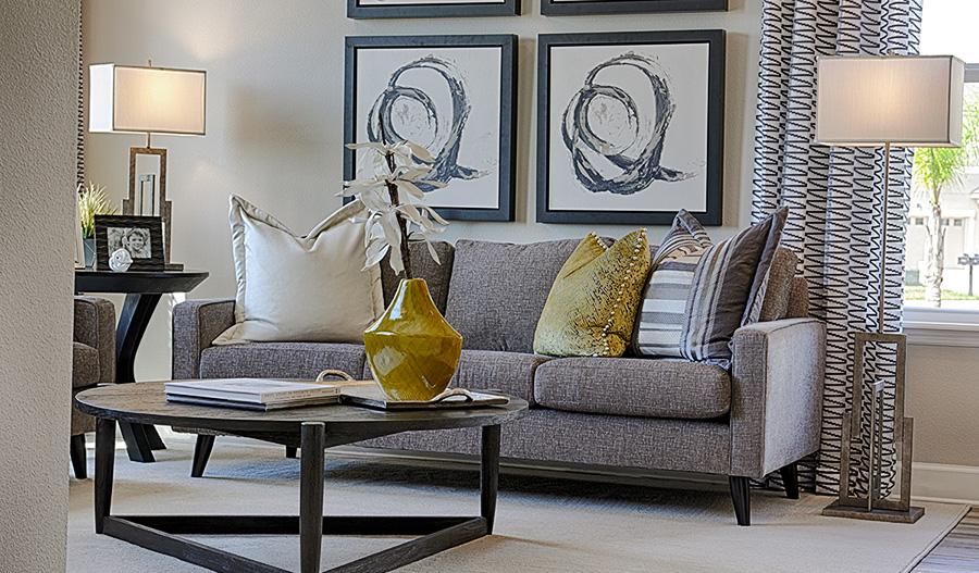 Living room in the Harmon floor plan