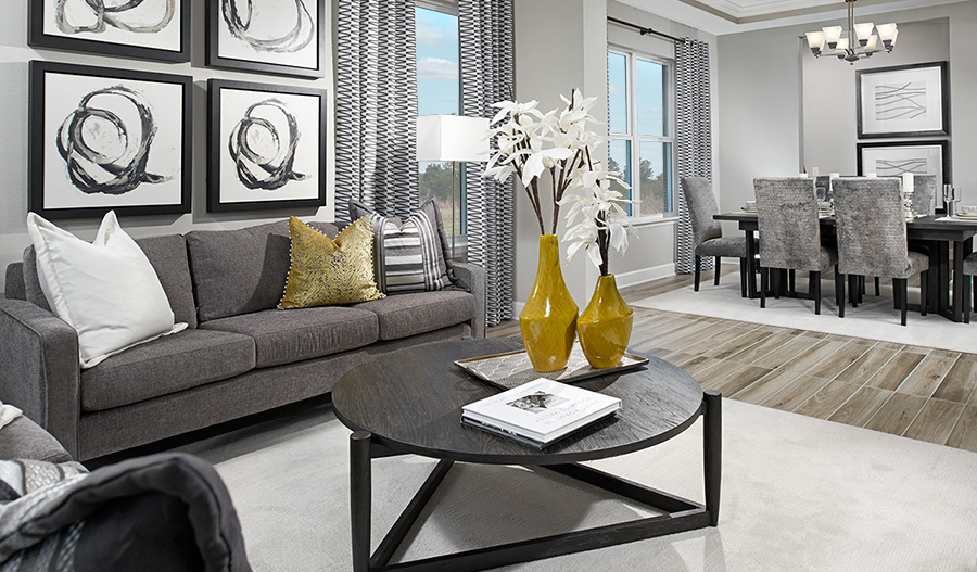 Living room and dining room in the Harmon floor plan