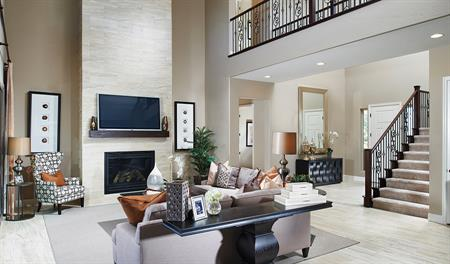 Great room and stairs in the Hartman floor plan
