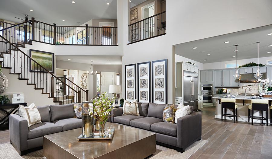 Great room and stairway in the Heidi floor plan
