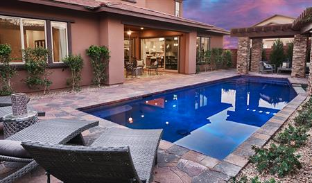 Pool in the backyard of the Heidi floor plan