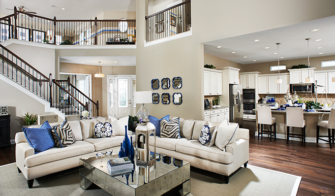 Great room and kitchen in the Heidi floor plan