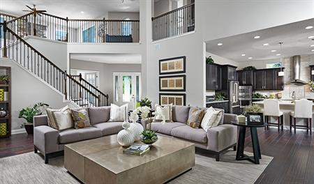 Great room and stairway in the Heidi floor plan