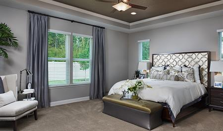 Master bedroom in the Heidi floor plan
