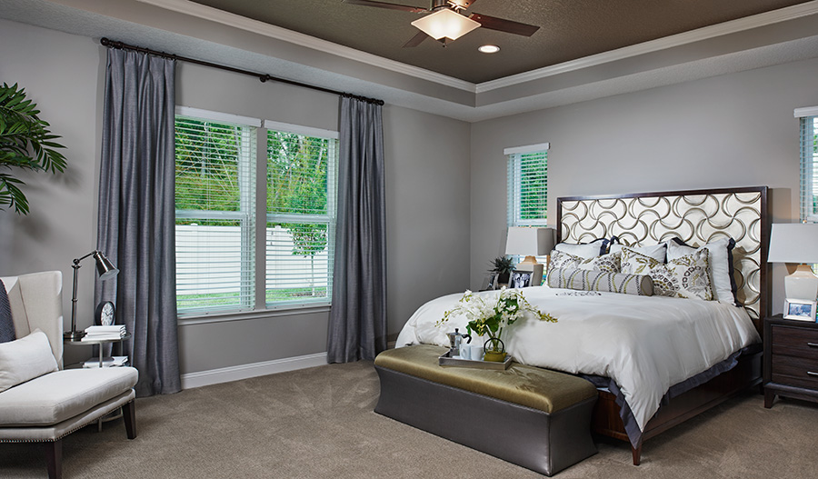 Master bedroom in the Heidi floor plan