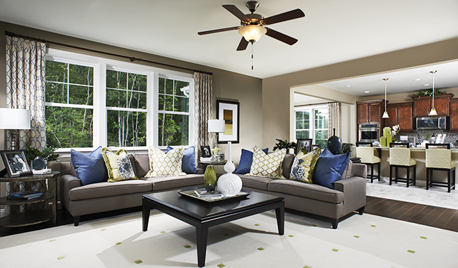 Great room of the Hemingway floor plan