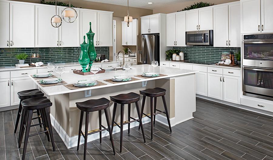 Kitchen with center island in the Hemingway floor plan