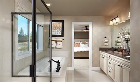 Master bath with walk in shower in the Hemingway floor plan