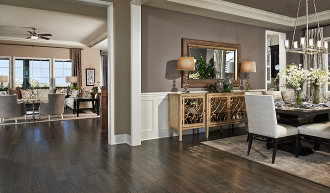 Dining room and living room in the Holbrook floor plan
