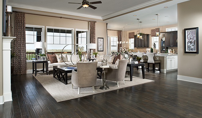 Great room and kitchen in the Hoolbrook floor plan