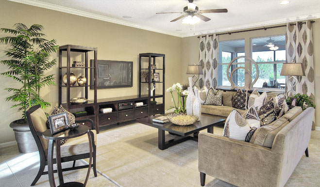 Family room in the Isaac floor plan