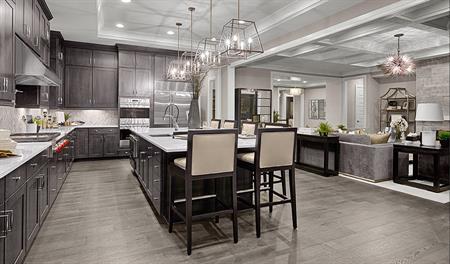 Kitchen and great room of the Jonathon floor plan