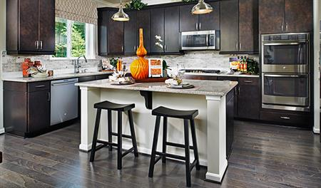 Kitchen with center island in the Keagan floor plan