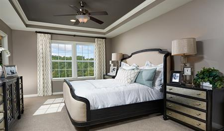 Master bedroom in the Keagan floor plan