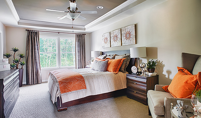Master bedroom of the Keagan floor plan