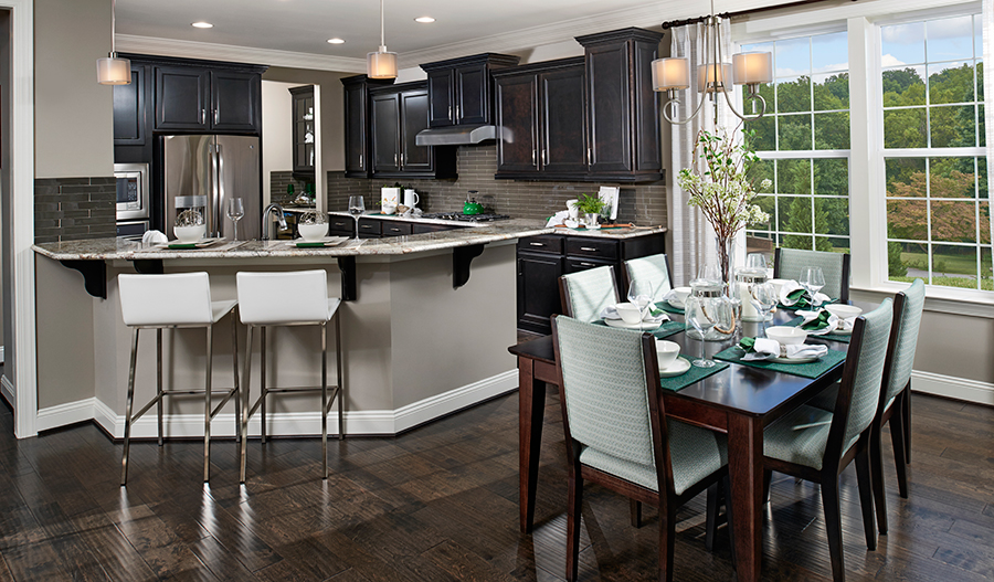 Kitchen and dining area of the Kelsey floor plan