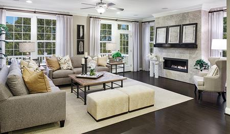 Family room with fireplace in the Kevin floor plan
