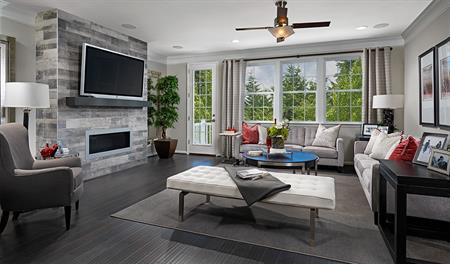 Family room with fireplace in the Kimberly floor plan