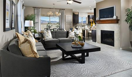 Great room with fireplace in the Lauren floor plan