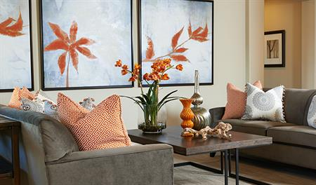 Couch - orange - gray - tall flowers DO NOT USE